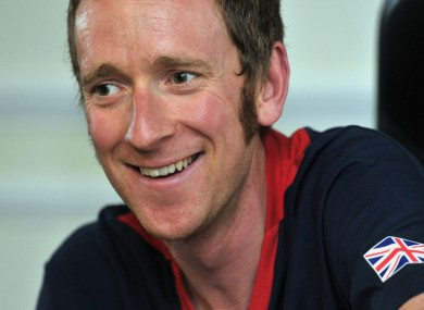 Bradley Wiggins faces the press in London.