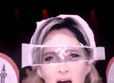 A doctored image of Marine Le Pen with a swastika superimposed over her face