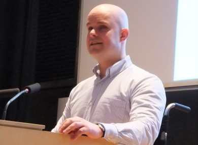 Mark Pollock speaking at his talk in TCD this week
