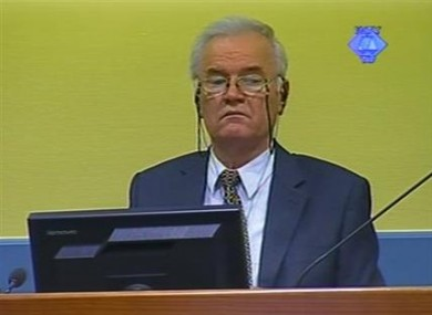 Former Bosnian Serb military chief Ratko Mladic in the court room in The Hague yesterday.