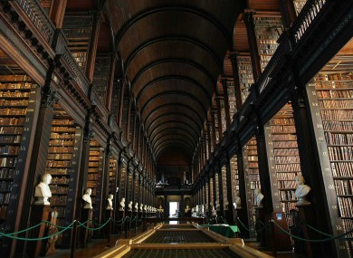 General view of The Long Room in Trinity College Library, Dublin.