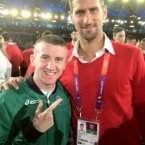 Paddy Barnes meets his biggest fan - Serbian tennis star Novak Djokovic - during Friday's opening ceremony.