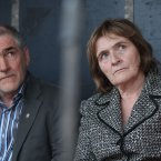 Tyrone GAA Manager Mickey Harte and  Sean Quinns wife Patricia attend watch as   Thousands of People at a rally in support of Formerly Ireland's richest man, his Family in Ballyconnell in Co Cavan tonight   Picture date:Sunday July 29, 2012. Photo credit should read: Niall carson/PA Wire