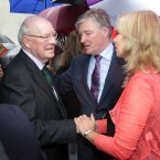 Maeve Binchy's husband Gordon Snell is is consoled by Pat Kenny and wife Kathy Kenny. Photo: Mark Stedman/Photocall Ireland