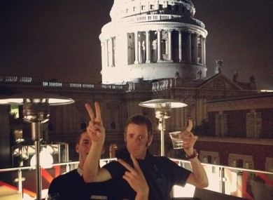 Celebrations: Wiggins tweeted from St Paul's last night.