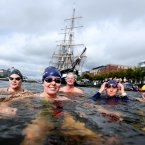 The 92nd Dublin City Liffey Swim is sponsored by Dublin City Council. Pictured here are Lucy Gaynor, Claire O Dwyer, Ger Philpott, Sinead Tyrrell and Rory McGlynn. (Photo: Jason Clarke Photography)