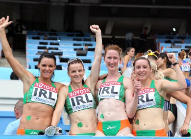 Ireland's Women's 4x100m Relay team of Marian Andrews-Heffernan, Michelle Carey, Joanne Cuddihy and Claire Bergin.