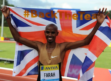 Great Britain's Mo Farah after winning the two-mile race at The Birmingham Grand Prix.