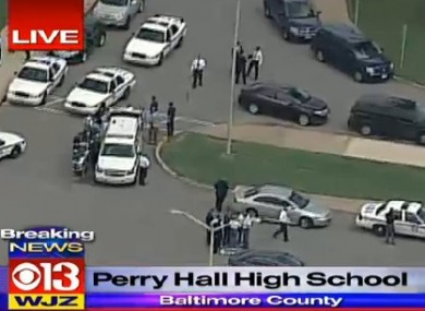 Police at the scene of today's school shooting.