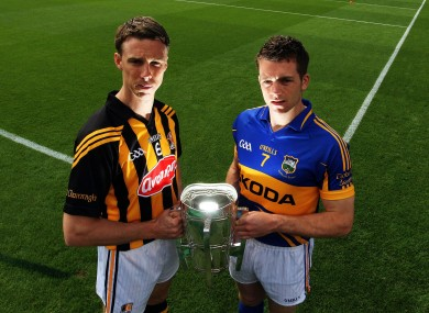 Kilkenny's Brian Hogan and Padraic Maher of Tipperary ahead of their GAA Hurling All Ireland Senior Championship Semi-Final on Sunday.