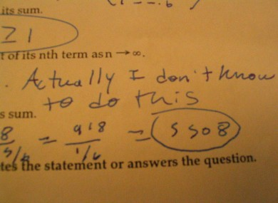 Comments like this became rarer among Honours Maths students this year.