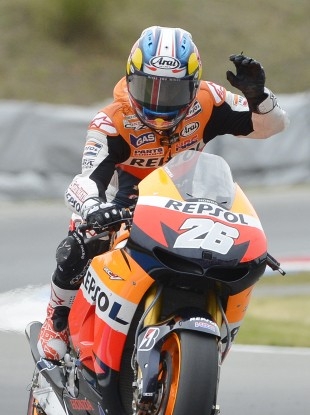 Honda rider Dani Pedrosa of Spain celebrates after winning the MotoGP at the Grand Prix of Czech Republic.