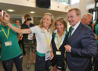 Aileen Morrison takes a snap of herself with Olive Loughnane and An Taoiseach Enda Kenny.