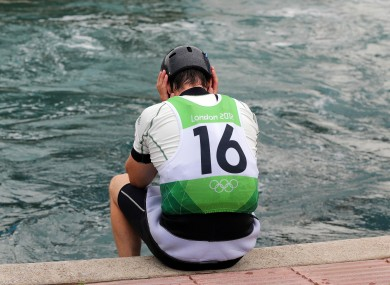 A dejected Eoin Rheinisch after finishing 14th in the men's K1 canoe slalom semi-final.