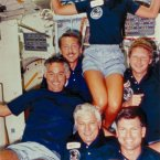 The STS-41-D crew enjoying space