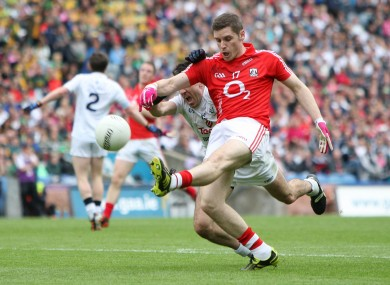Daniel Goulding in possession for Cork during their All-Ireland quarter-final against Kildare.