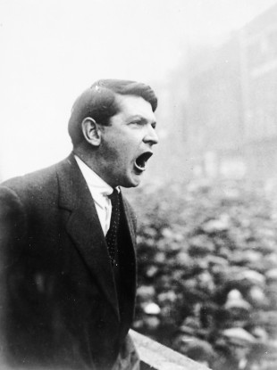 Michael Collins addressing crowds at Dublin's College Green after signing the Anglo Irish Treaty in late 1921.
