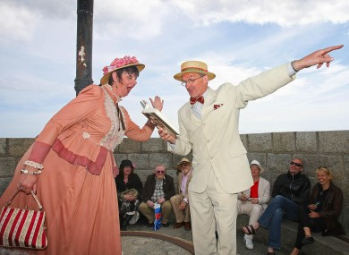 Breda and Jim Carroll, dressed as Molly and Leopold Bloom, during a Bloomsday performance atop the Joyce Tower in 2008.