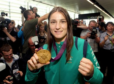 Katie Taylor at Dublin airport yesterday.