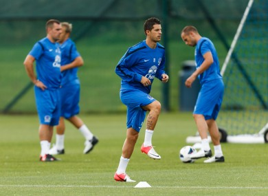 New boy: Mirallas, centre, training at Finch Farm this morning.