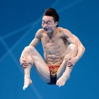 China's Kai Qin during the Men's 3m Springboard Final at the Aquatics Centre in the Olympic Park, on the eleventh day of the London 2012 Olympics.