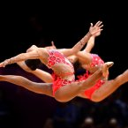 Russia compete with five balls during the Rhythmic Gymnastics Group All Round Qualification at Wembley Arena, London. PA Photo