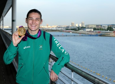 Ireland's Katie Taylor with her gold medal after her fight with Russia Sofya Ochigava during the Women's light 60kg fight.