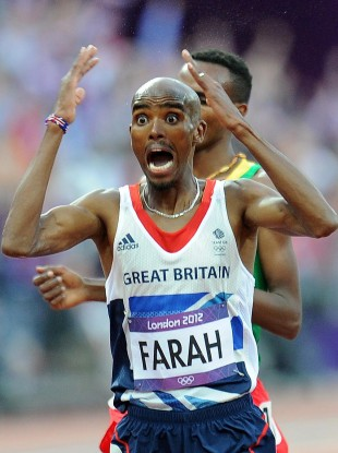 Great Britain's Mo Farah celebrates winning the Men's 5,000m Final on day fifteen of the London Olympic Games
