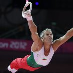 The artistic gymnastics men's apparatus finals at the 2012 Summer Olympics, Monday, Aug. 6, 2012, in London. (AP Photo/Julie Jacobson)