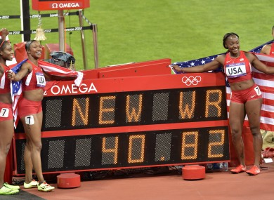 The previous World Record in the Women's 4x100m relay had been set by East Germany.