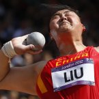 China's Liu Xiangrong takes a thrown a women's shot put qualification round during the athletics in the Olympic Stadium at the 2012 Summer Olympics, London, Monday, Aug. 6, 2012. (AP Photo/Matt Dunham)