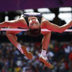 New Zealand's Sarah Cowley makes an attempt in the High Jump of the women's Heptathlon during the athletics in the Olympic Stadium at the 2012 Summer Olympics, London, Friday, Aug. 3, 2012. (AP Photo/Matt Dunham)