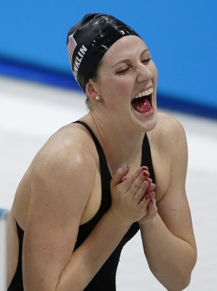 Missy Franklin celebrates yet another gold.