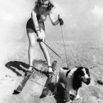 Playing at the beach with her dog Ruffles on 1 January 1947. (AP Photo, File)