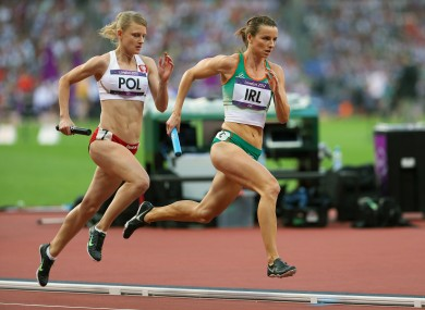 Ireland's Michelle Carey running in the 4x400m heat.