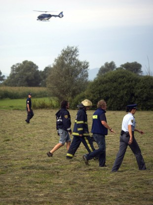 Rescuers survey the site of hot air balloon crash near Ljubljana, Slovenia