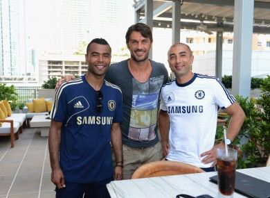Chelsea's Ashley Cole, Roberto Di Matteo with Ex AC Milan player Paolo Maldini in Miami this week.