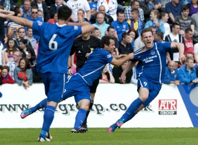 Peterhead's Rory McAllister (right) celebrates scoring during the Scottish Division Three match.