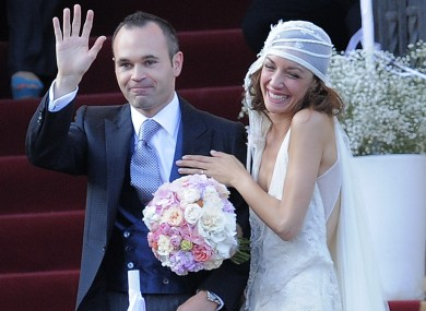 Andres Iniesta and his wife Anna Ortiz after their wedding last month.