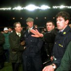 At the riots which blighted the Ireland v England soccer game at Lansdowne Road in 1995. Leon Farrell/Photocall Ireland.