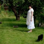 A woman who devotes herself to collecting stray cats.