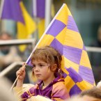 A young Wexford fan waits to see the team.