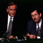 Taoiseach Albert Reynolds and Minister for Foreign Affairs Dick Spring express their views on the IRA ceasefire at a press conference on 31 August 1994. Image: Photocall Ireland.
