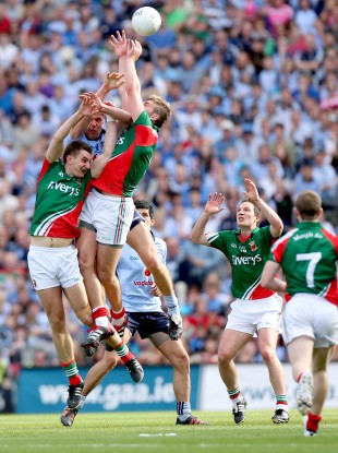 Mayo's Aidan O'Shea and Barry Moran in action against Dublin.