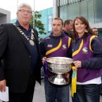 Bernard Crosby, head of Gorey City Council, manager JJ Doyle, captain Karen Atkinson and the O'Duffy Cup.