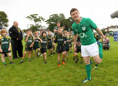 Brian O'Driscoll trains with Boyne RFC Under 9's in August.
