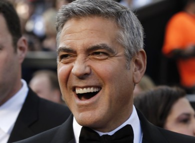 George Clooney, baring his teeth