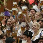 People mark the opening of Oktoberfest. (AP Photo/Matthias Schrader)