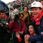 1993: USA's Tom Watson and his wife watch the action from the 18th green.