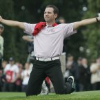 2006: Sergio Garcia reacts to the cheers of the crowd on the 16th green.